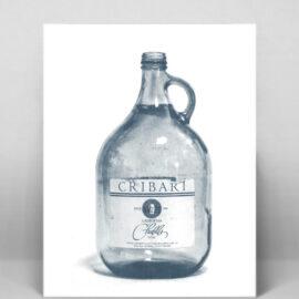 Cribari Wine Bottle Risograph Print,