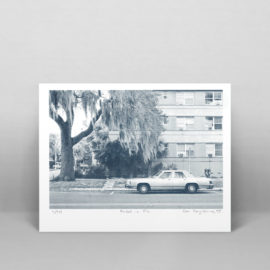 A risograph print of a photo of a car parked in St. Petersburg, Florida.