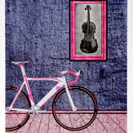 Bike and Violin Risograph Print by Ezequiel Consoli