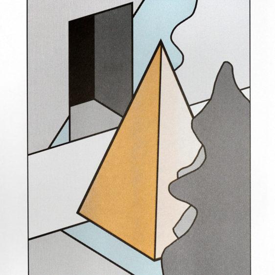 Gazing Pyramid with riso metallic gold ink, Cem Kocyildirim, Risograph Brooklyn