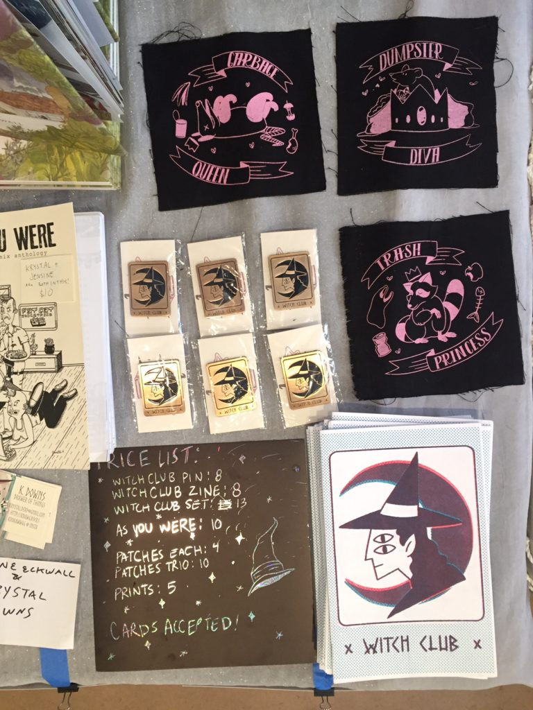 Witch Club Pins and zines by Krsytal Downs