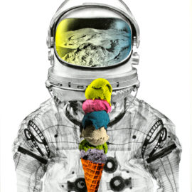 Astronaut Ice Cream by AM DeBrincat Print
