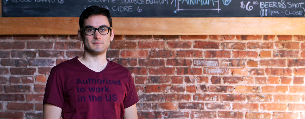 The immigrant life - Cem Kocyildirim wearing his Authorized to Work in the US shirt, after getting his O1 visa, also known as the Artist Visa