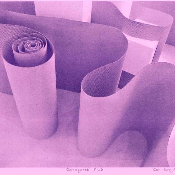 soy based purple ink on bright pink paper.