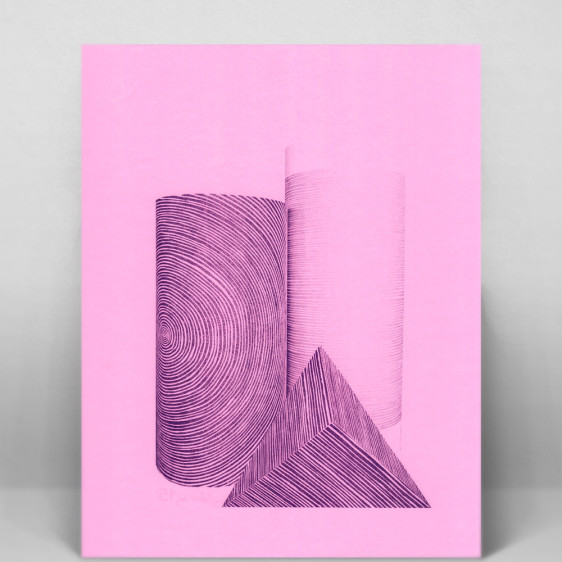 One color riso print on bright pink paper