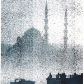 Foggy Dreamy Istanbul Silhouette, Risograph