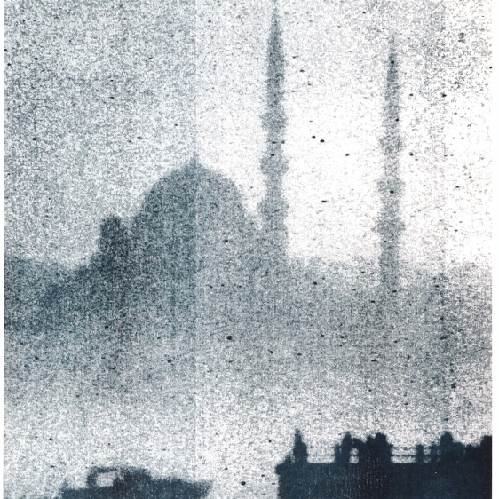 Foggy Dreamy Istanbul Silhouette, Risograph