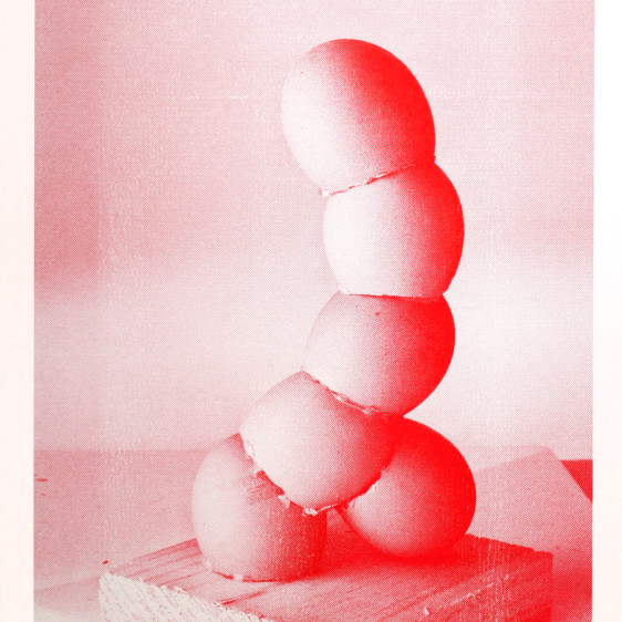 Egg Penis Sculpture Risograph Print