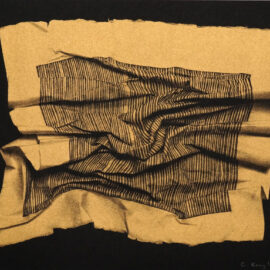 Cem Kocyildirim Golden Lined paper, printed on black paper with metallic gold risograph ink