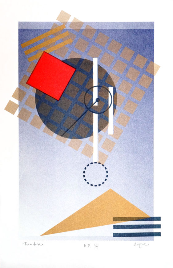 Geometric art by Elyse Barton for Drums on Paper, Risographj Print Show, Brooklyn