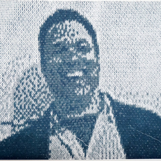 Greg Climer Still from a knitted movie, Drums on Paper