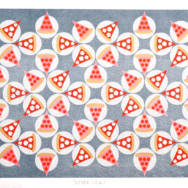 Jenn Kaye Pizza NYC Brooklyn, Risograph Print, Drums on Paper
