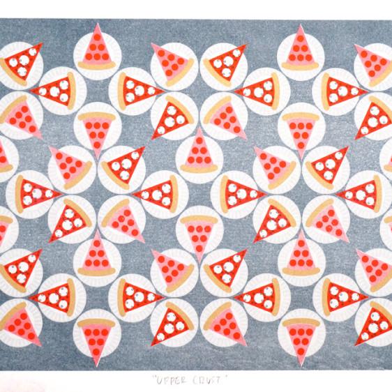 Jenn Kaye Pizza NYC Brooklyn, Risograph Print, Drums on Paper