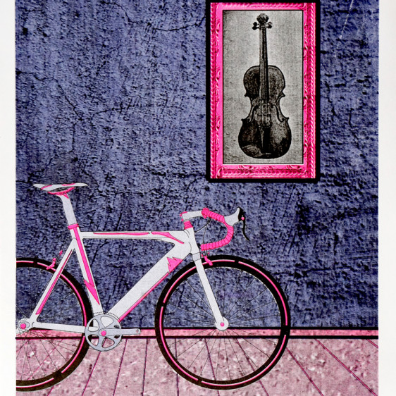 Bike and Violin Risograph Print by Ezequiel Consoli