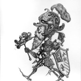 Deniz Ilhan Print, knight, risograph