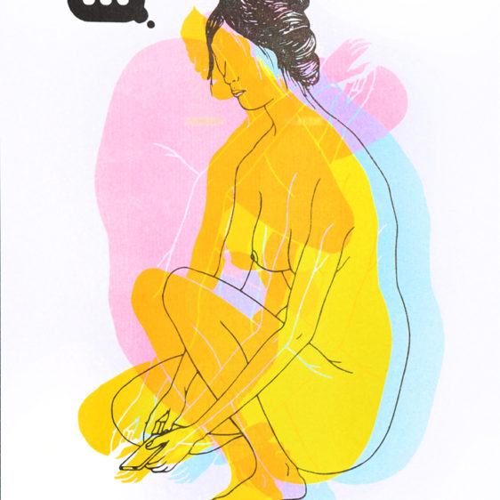 Julian MacMillan, Texting, Risograph Print by Brooklyn artist