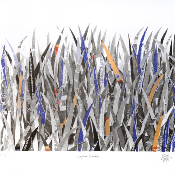 Paper Collage Print Sarah Philips, Sapphire Grass, Risograph Print