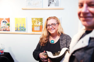 Carla Goldberg at Ground Floor Gallery during the opening reception of Drums on Paper III