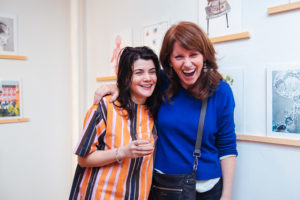 Simone Coute and Donna Cleary at Risograph Print Show, Drums on Paper III