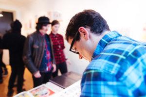 Cem Kocyildirim, preparing prints at Drums on Paper III - Risograph print show