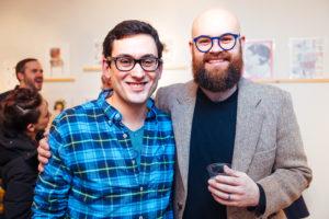 Cem Kocyildirim and Brooklyn artist Ben Cowan at Drums On Paper III at Ground Floor Gallery