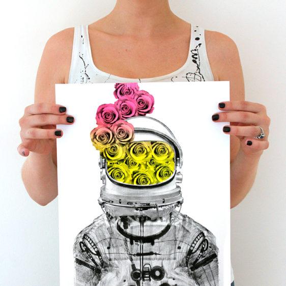 AM DeBrincat Astronaut Roses Print