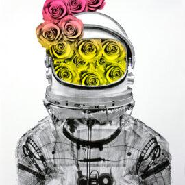 Astronaut Roses, Risograph by AM DeBrincat Print