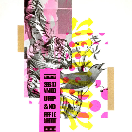 Derrick Schultz Stand up and fight, Risograph Print