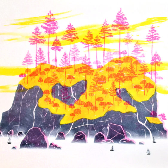 Eleanor Doughty Island Seattle, Risograph print
