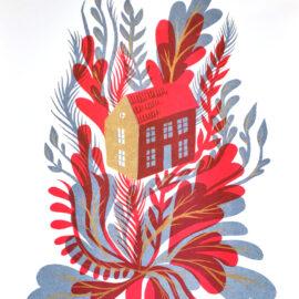 Michael J Hildebrand FlowerHouse, Risograph Print