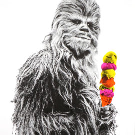 Chewbacca Icecream print, star wars print, risograph, fan art