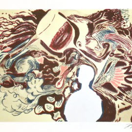 Jess Worby Red Wine stream of consciousness Risograph print