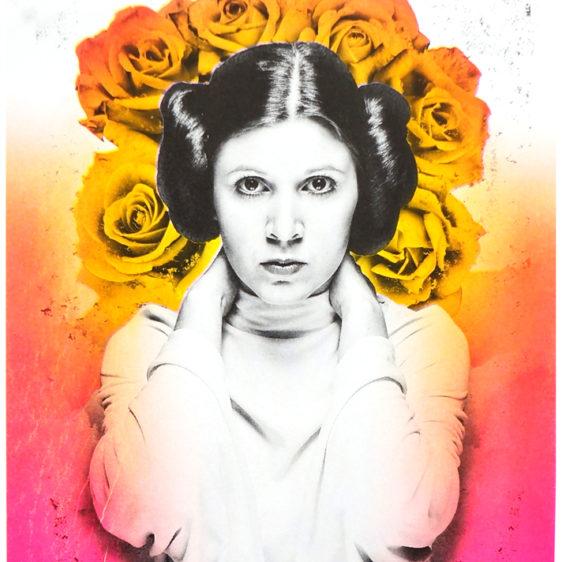 Princess Leia Print Roses, Star Wars, Risograph