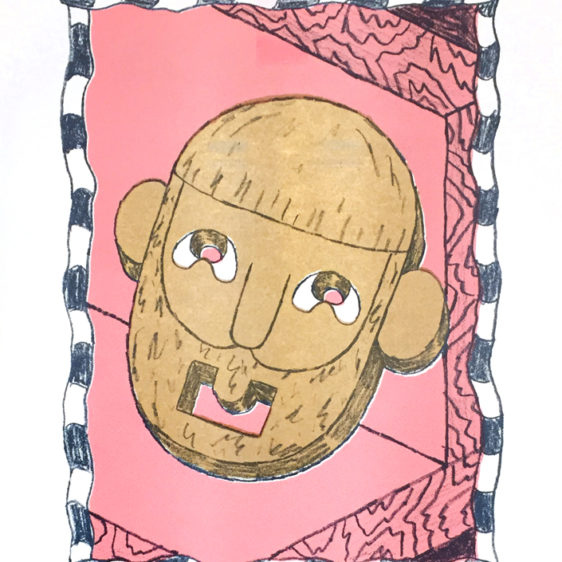 Rand Renfrow Head, risograph print