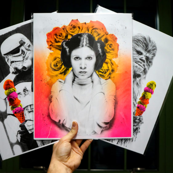 Star Wars Print Set featuring Princess Leia, Stormtrooper, Chewbacca. Risograph